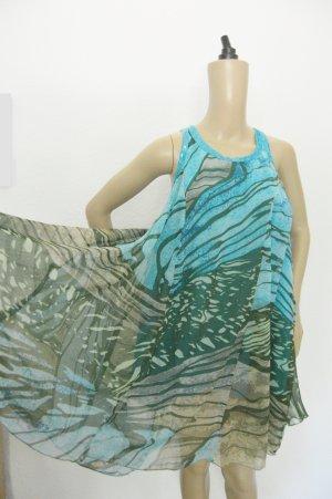 Chiffon jurk turkoois-blauw