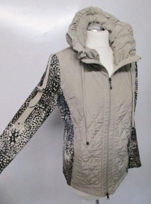 Leichte Übergangsjacke Weste Lisa Campione Größe 42 Beige Braun Leo Leopard Muster Stehkragen Steppjacke Materialmix Jersey