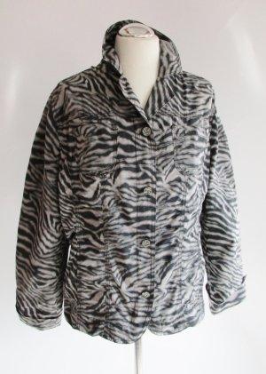 Leichte Übergangsjacke World of Wissmach Größe L 42 Grau Schwarz Zebra Leo Tiermuster Streifen Jacke Blazer Kasten Windjacke