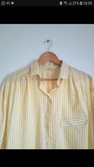 Vintage Blusa taglie forti bianco-giallo pallido