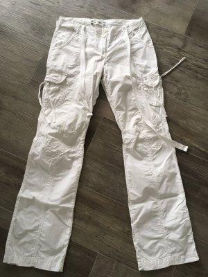 Zero Pantalone cargo bianco Cotone