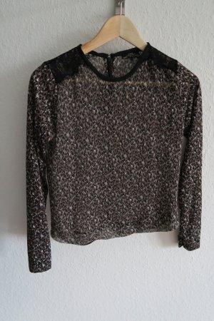 leichte Zara Bluse mit Spitze schwarz nude braun 34/36