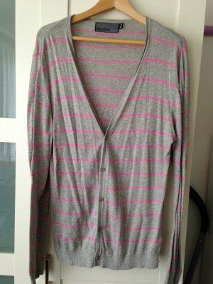 leichter Baumwollcardigan, grau pink, Bershka, Gr. XL