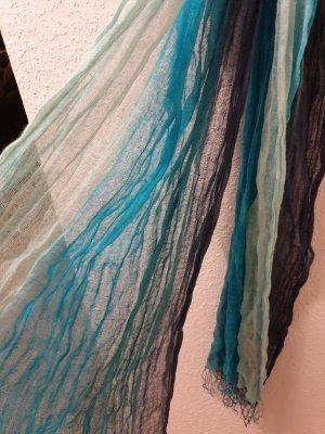 Écharpe à franges bleu