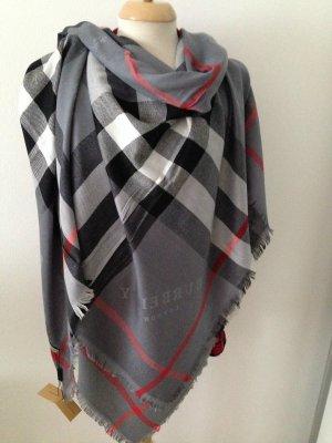 Leichter Burberry Schal mit Check-Muster*Original*mit Rechnung*140x140 Grau