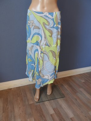 Bianca Skirt baby blue-lime yellow viscose
