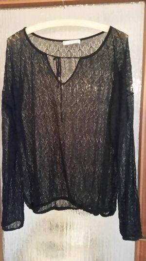 leichter, feiner Pullover von Stefanel, schwarzer Ajourpullover