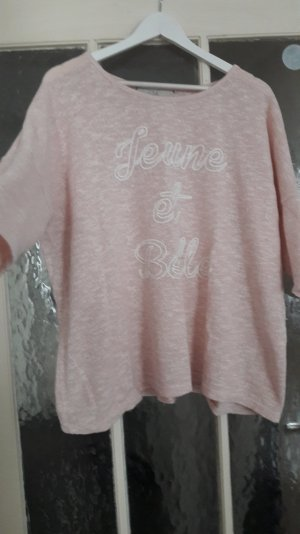 leichter feinstrick Pullover 50 XL rosa weiß c&a