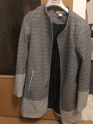 H&M Long Jacket black-white