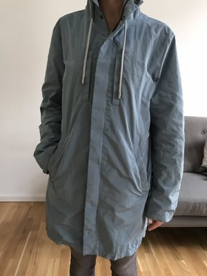 Zara Manteau à capuche bleu azur-gris clair