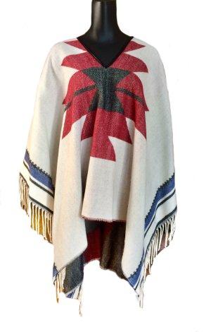 Leichter Poncho mehrfarbig mit Indianer-Muster