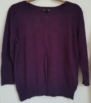 H&M Short Sleeve Sweater dark violet cotton