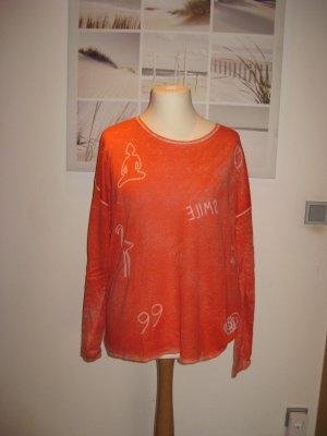 Barbara Becker Kraagloze sweater lichtrood-wolwit Zijde