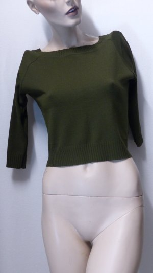 Ashley Brooke Kraagloze sweater donkergroen Viscose