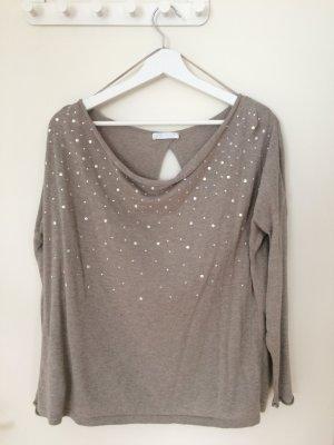 Promod Long Sweater oatmeal-grey brown mixture fibre