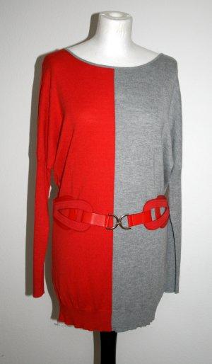 Leichter Pullover in hellgrau / rot-orange