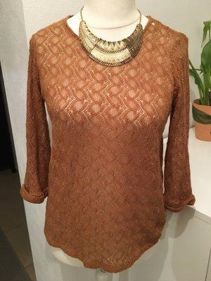 Leichter Pullover Pulli Oberteil gelb braun locker Gr. S TOP