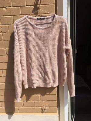 Brandy & Melville Kraagloze sweater stoffig roze-rosé