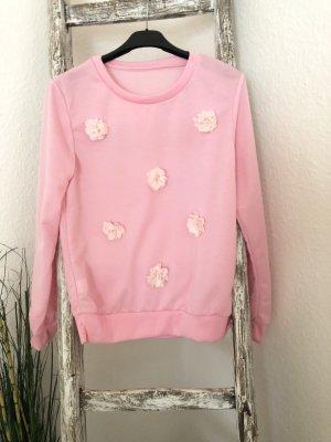 Leichter Pullover rosa Tüll Blüten Gr. S 36
