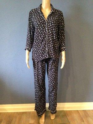 H&M Pyjama dark blue viscose