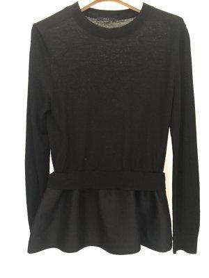 Leichter Rundhals Pullover mit Schößchen Schwarz