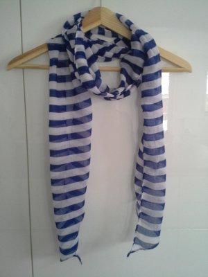 Leichter Schal blau/weiss