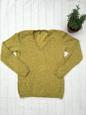 Leichter Schurwoll-Pullover von BENETTON, Senfgelb, Medium