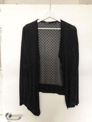 Leichter schwarzer Cardigan mit transparentem Rücken Gr. S
