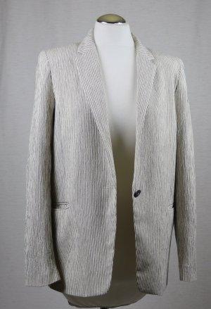 Leichter Sommer Long Blazer H&M Größe M 38 Woll Weiß Schwarz streifen Krepp Stoff Jacke Longblazer Baumwolle Viskose