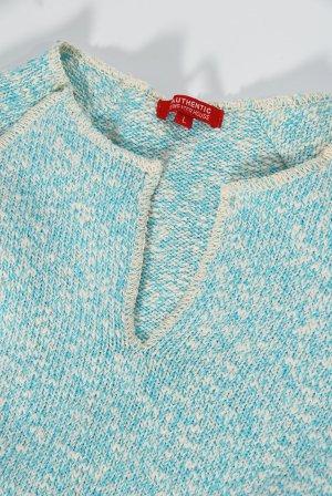 Authentics Pull ras du cou bleu clair-blanc coton
