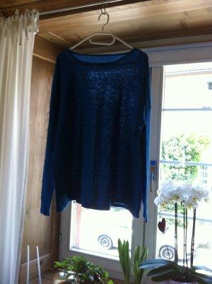 Kraagloze sweater blauw Linnen