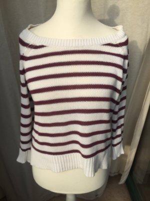 H&M Jersey de punto blanco-púrpura Algodón