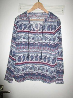 Slip-over blouse blauw-donkerrood