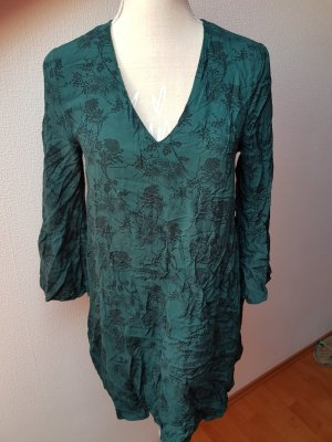H&M Blouse Dress forest green-black viscose