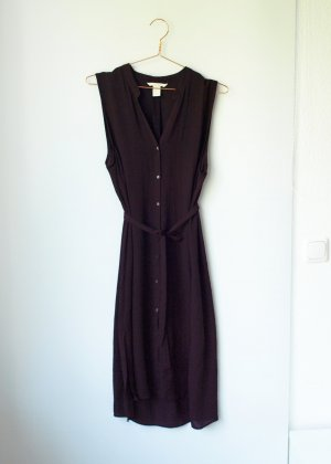 leichtes dunkelrotes Blusenkleid mit Bindegurt H&M 42 XL Midi