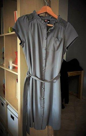 Leichtes graues Kleid mit Knopfleiste, Größe 38