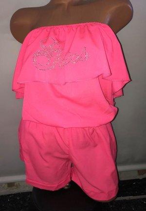 Guess Camisa de un solo hombro rosa-color plata