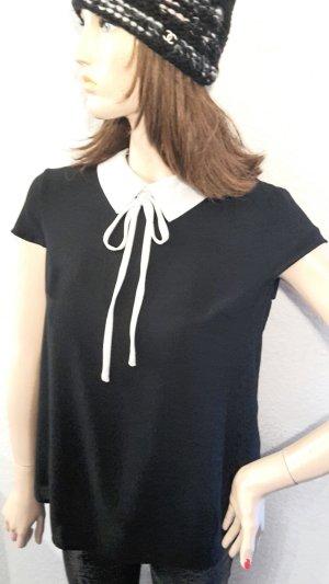 leichtes Hängerchen Bluse im Chanellook mit weißem Kragen Schleife Gr S schwarz von faith and joy