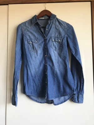 Stradivarius Jeans blouse neon blauw-korenblauw