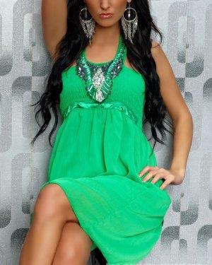 leichtes Kleid grün mit Ziersteinen luftiges Neckholderkleid apfelgrün 36 38 Schmucksteine NEU