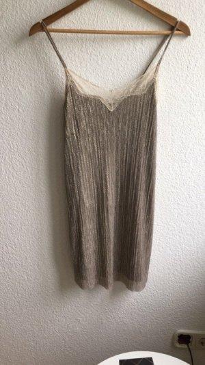 Zara Robe courte beige fibre synthétique