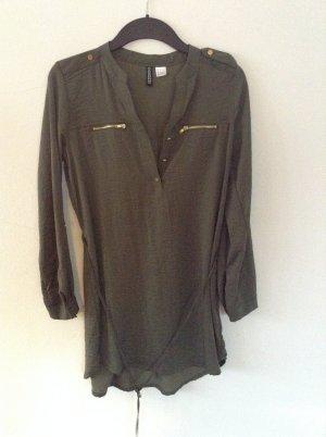 Vestido tipo blusón negro-verde oscuro