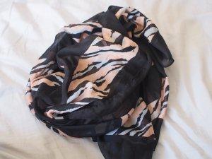 Leichtes quadratisches Tuch mit schwarz-rosa-blauem Muster