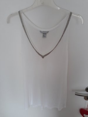 H&M Off the shoulder top wit-zilver