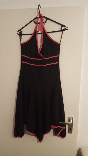 Vestido de cuello Halter negro-rosa Poliéster