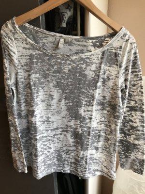 Asos Camisa de cuello barco gris-blanco