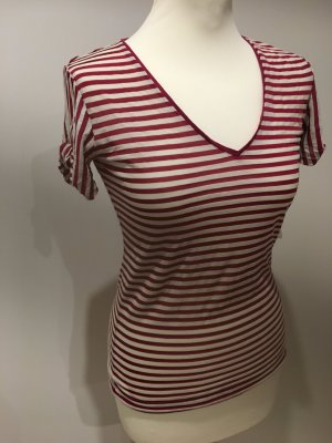 MNG Camisa de rayas rojo frambuesa-crema