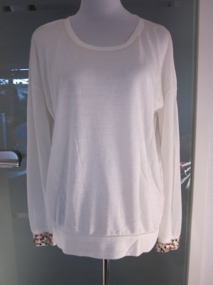 Leichtes Shirt mit Strass Perlen an den Ärmeln   Gr L Creme