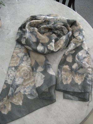 leichtes Sommer Tuch / Schal, 155x38cm, grau-blau-beige, geblümt