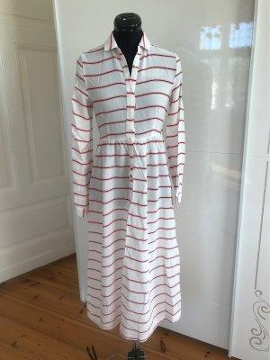 American Vintage Vestido camisero blanco-rojo Viscosa